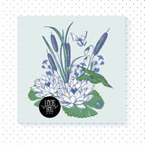 Vintage pond watery flowers vector greeting card Stock Images