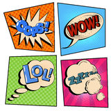 Vintage Pop Art Comic Speech Bubble Set with Expressions Stock Photography