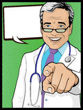 Vintage Pop Art Doctor with Pointing Hand Stock Photos