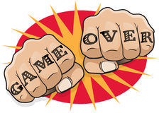 Vintage Pop Art Game Over Punching Fists. Royalty Free Stock Image