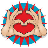 Vintage Pop Art Hand Heart Sign. Great illustration of Pop Art Comic Book Style Hand Heart Sign Stock Image