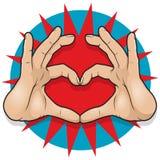 Vintage Pop Art Hand Heart Sign. Stock Image