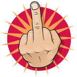Vintage Pop Art Middle Finger Up Gesture. Royalty Free Stock Images