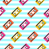 Vintage pop art music tape striped seamless pattern. Royalty Free Stock Images