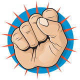 Vintage Pop Art Punching Fist Sign. Royalty Free Stock Photo