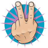 Vintage Pop Art Two Fingers Up Gesture. Stock Image