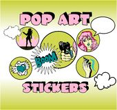 Vintage Popart Stickers Royalty Free Stock Photos