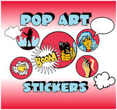 Vintage Popart Stickers, Woman Stock Photography