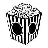 Vintage popcorn bucket box template. In monochrome style isolated vector illustration Royalty Free Stock Images