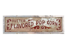 Vintage popcorn sign. Vintage metal popcorn sign isolated on white background Stock Photo