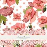 Vintage poppy flowers Wedding Invitation Card Stock Photo