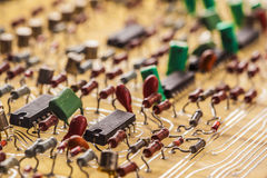 Vintage  populated. Printed circuit board Stock Photos