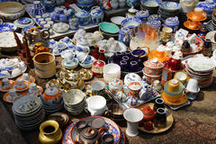 Vintage porcelain‌ in Antiques market Stock Photography