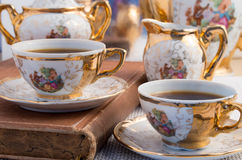 Vintage porcelain coffee cups with hot espresso Royalty Free Stock Photo