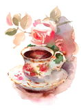 Vintage Porcelain Cup of Berry Tea and Roses Watercolor Still Life Illustration Hand Drawn Royalty Free Stock Image