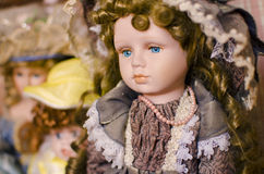 Vintage porcelain doll Royalty Free Stock Images