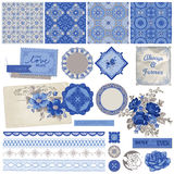Vintage Porcelain and Flower Set Stock Photo