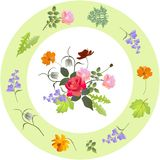 Vintage porcelain plate with floral ornament. Vector design.  royalty free illustration
