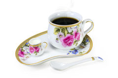 Vintage porcelain set of cups with coffee or tea Stock Photos