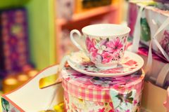 Vintage porcelain tea set on the table Royalty Free Stock Photo