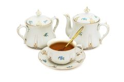 Vintage porcelain tea set Royalty Free Stock Image