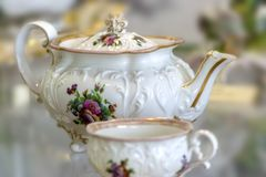 Vintage porcelain teapot and Cup Royalty Free Stock Photo
