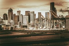 Vintage Port of Seattle Stock Photography