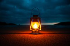 Vintage portable oil lantern royalty free stock image