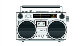 Vintage Portable Radio Cassette Player 2D Animation. 2d Animation motion graphics of a retro vintage portable radio cassette recorder player on white screen royalty free illustration