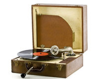 Vintage portable record player with record Royalty Free Stock Photography