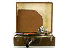Vintage portable record player with record Stock Image