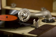Vintage portable record  player side Stock Photo