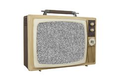 Vintage Portable TV Isolated with Static Screen Stock Images