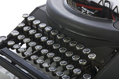 Vintage portable typewriter close up on keys Stock Photos