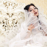 Vintage portrait of beautiful queen like girl (bride) Royalty Free Stock Photos