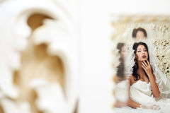 Vintage portrait of beautiful queen like girl (bride) Royalty Free Stock Photo