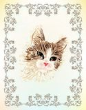 Vintage portrait of the cat Royalty Free Stock Photo