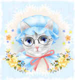 Vintage portrait of the cat with glasses and roses. Victorian st Stock Photography