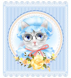 Vintage portrait of the cat Royalty Free Stock Images
