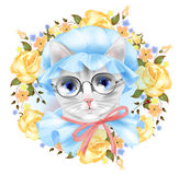 Vintage portrait of the cat with glasses Royalty Free Stock Photo