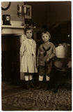 Vintage Portrait Circa 1922. Vintage portrait of two children circa 1922 Royalty Free Stock Images