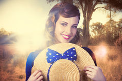 Vintage portrait of a country pinup girl Royalty Free Stock Photos