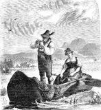 Couple with fishing boat in traditional costumes, vintage engraving. Vintage portrait of a couple fishing on a Upper Bavarian lake with traditional costumes in a Stock Photography