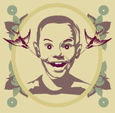 Vintage portrait happy boy. Cartoon face selfie photo  by MrNobody illustrator, these cartoons can be used for commercial purposes and fashion themes Stock Photos
