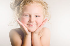 Vintage portrait of little baby with curls Royalty Free Stock Photo