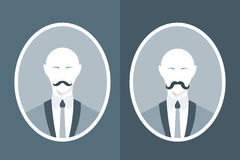 Vintage portrait of man in suit with mustache. Royalty Free Stock Image
