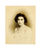 Vintage Portrait Of A Young Woman Stock Photos