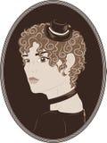 Vintage portrait of pretty girl Stock Photos