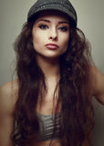 Vintage portrait of trendy girl in fun hat Stock Image