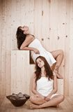 Vintage portrait women in a sauna Royalty Free Stock Photography